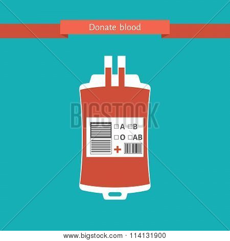 blood donation bag with a pipe, medical emergency transfusion