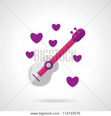 Valentines guitar bright flat vector icon
