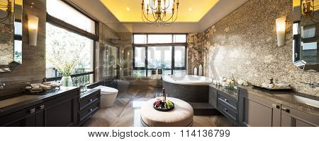 pano decoration and furniture in modern bathroom
