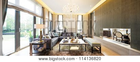 pano decoration and furniture in modern living room