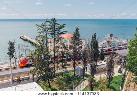 Sochi, Russia, May 10, 2015: View Of Matsesta Railway Station And Round Cafe