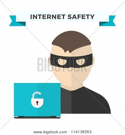 Internet security data privacy vector illustration