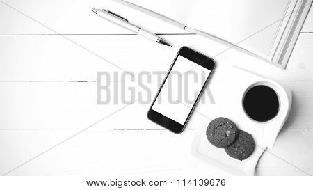 Coffee Cup With Cookie,phone With Notebook And Pen Black And White Color