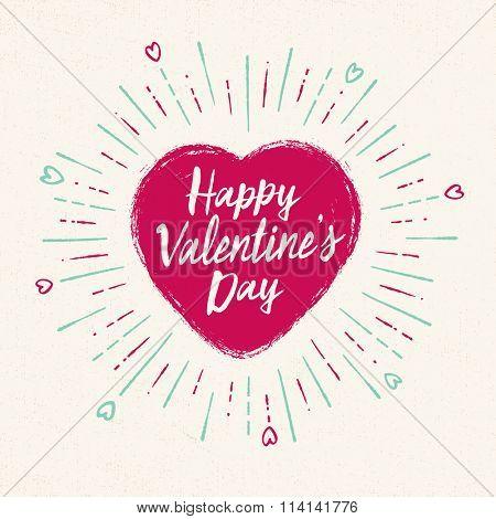 Handwritten, vintage flavored Valentine's Card - Happy Valentine's Day - EPS10