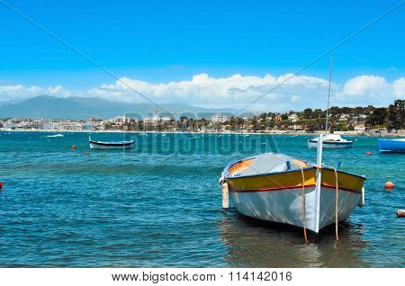 view of some fishing boats in the Mediterranean sea, in the French Riviera, France