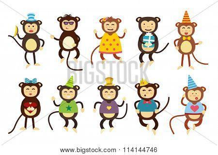Happy cartoon monkey toys dancing party birthday background. Monkey party birthday dance. Merry christmas monkey toys, monkey, banana, jump, smile, monkey play. Monkey animals cartoon flat style