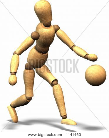 a wooden puppet playing basketball. also a wooden ball. poster
