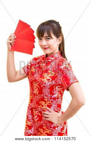 Happy chinese new year,Cute smiling Asian woman dress traditional cheongsam and qipao holding