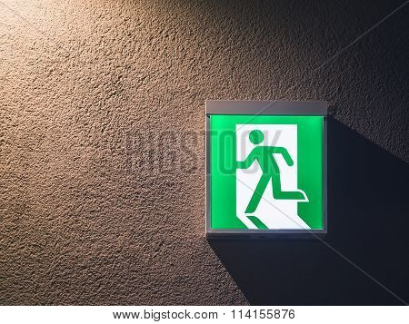 Fire Exit Sign Light Box On Wall Building Safety Signage