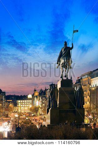 PRAGUE CZECH REPUBLIC - OCT 25 2014: St. Wenceslas statue New town in Prague Czech republic. Situated on Wenceslas square national cultural landmark ** Note: Visible grain at 100%, best at smaller sizes