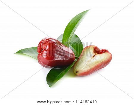 Whole And Half Cut Rose Apple On White Background