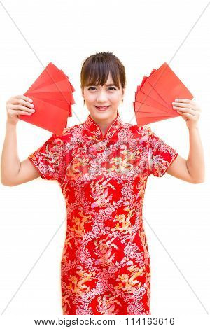 Happy Chinese New Year,cute Smiling Asian Woman Dress Traditional Cheongsam