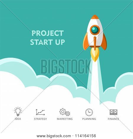 Start Up Rocket Ship Concept of New Business Project Start Up