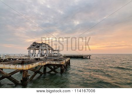 Old Pavilion In The Sea At Sunset