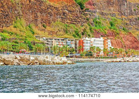 Calheta Promenade With Hotel And Beach