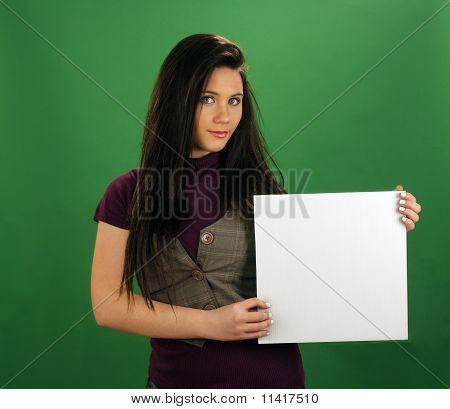 Beautiful Teen Girl Holds A White Card