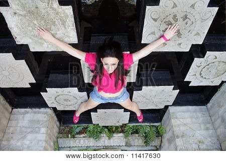 Beautiful Teen Girl On The Ceiling