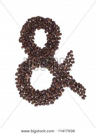 Ampersand Symbol Made With A Coffee Beans