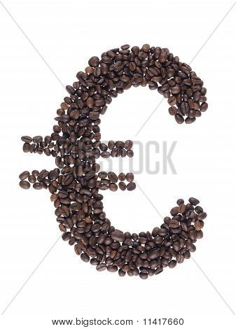 Euro Symbol Made With A Coffee Beans