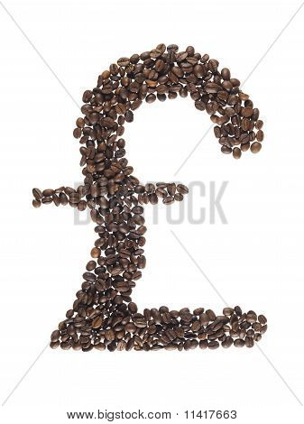 Pound Symbol Made With A Coffee Beans