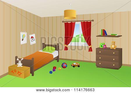 Modern kid room beige toys green bed orange pillow window illustration vector