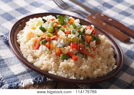 Arabian Food: Cous Cous With Vegetables. Horizontal