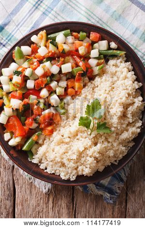 Couscous With Vegetables And Herbs Closeup. Vertical Top View