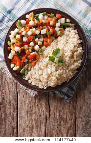 Couscous With Vegetables And Herbs. Vertical Top View