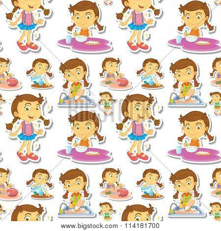 Seamle little girl doing chores illustration