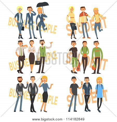 Group Cartoon Business People and Students. Vector Illustration Set