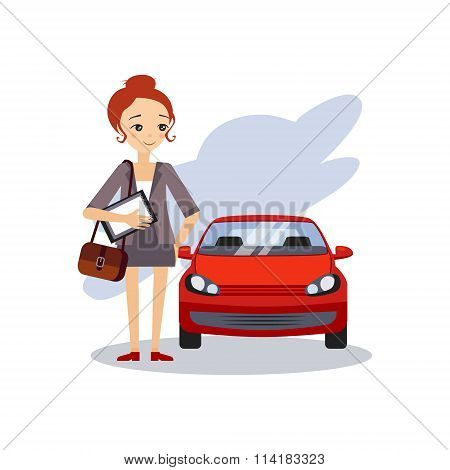 Parking at Work. Daily Routine Activities of Women. Colourful Vector Illustration poster