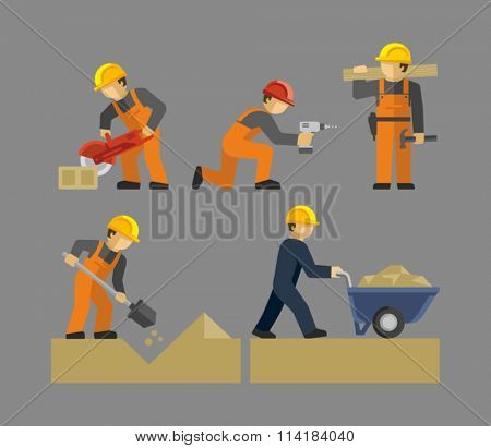 Construction Workers Vector. Man working with shovel. Male Construction Worker using a concrete cutter tool. Man Pushing a wheelbarrow of sand.