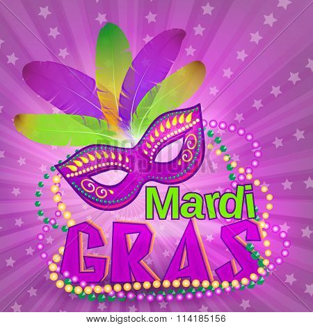 Venetian carnival mardi gras colorful party mask on purple background vector illustration. Fat tuesday holyday background.