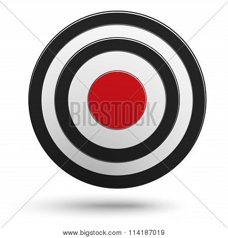 Black Round Darts Target Aim With Red Center Isolated On White Background