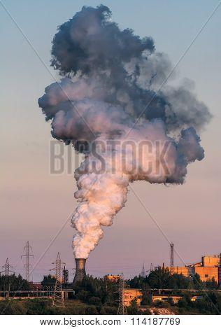 Puffs Of Steam At Sunset