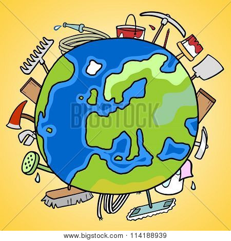 Many tools behind earth globe as symbol for trade globalization