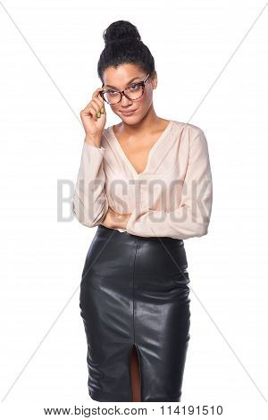 Business woman looking skeptically