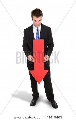 Business Man Arrow Down
