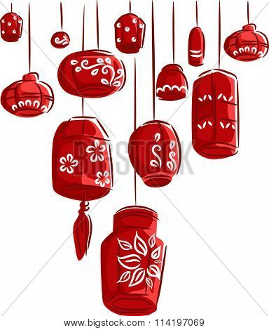 Colorful Illustration of Red Paper Lanterns Dangling from Above