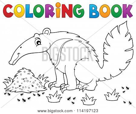 Coloring book anteater theme 1 - eps10 vector illustration.