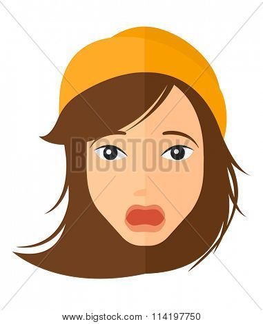 Scared woman with open mouth.