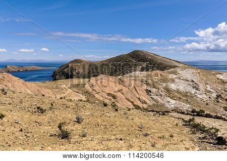 View Of A Penninsula On The Isla Del Sol On Lake Titicaca In Bolivia