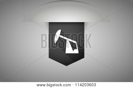 Long Shadow Ribbon Icon With A Horsehead Pump