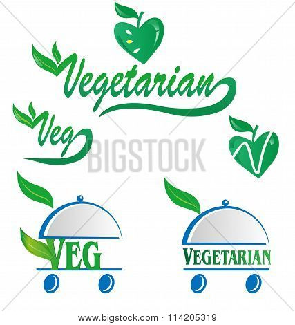 Vegetarian And Veg Symbol Menu Isolated On White