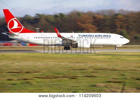 Frankfurt - December 23 2015 : Turkish Airlines taking off at Frankfurt airport.