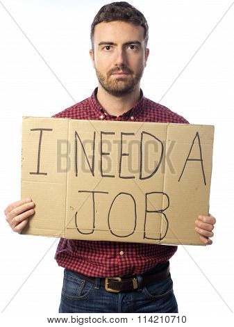 Unemployed Man Isolated On White Background