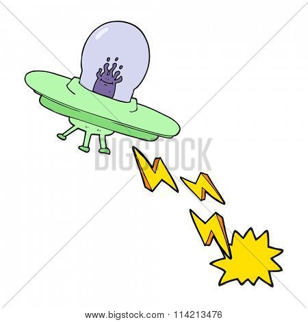 freehand drawn cartoon flying saucer