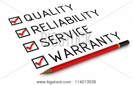 Business strategy: quality reliability service warranty. Red pencil and a checklist with red marks poster