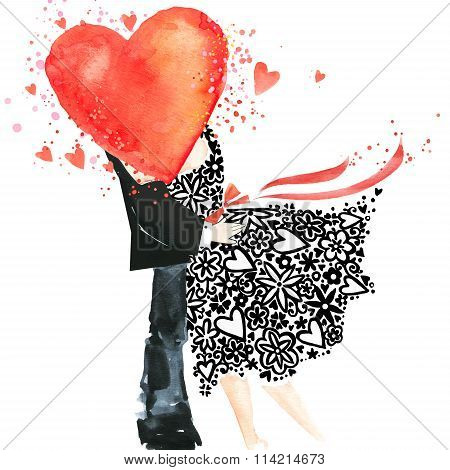 Valentines day. Love you watercolor card. Kiss. man and woman kissing. Kiss. watercolor heart.  Vale