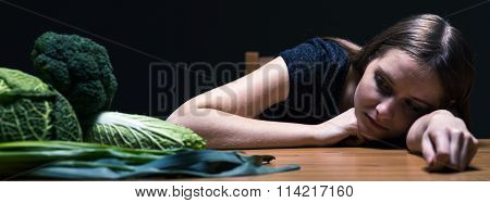 Young Girl And Vegetables
